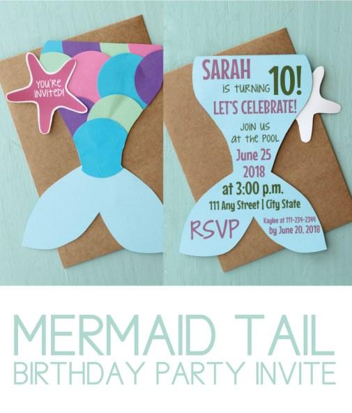 Mermaid Tail Birthday Party Invite