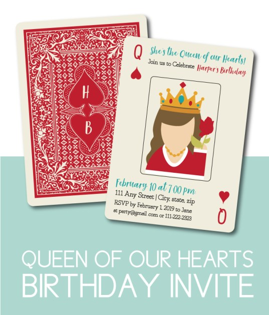 Queen of Hearts Birthday Party Invite