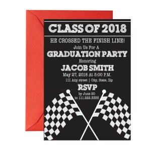 Race Themed Graduation Invite