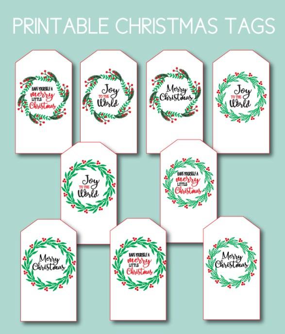 Red and Green Printable Tags for Christmas
