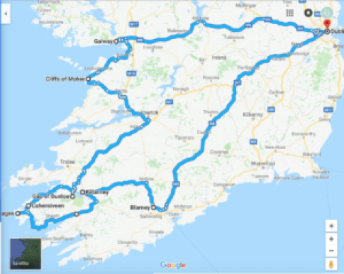 Map of Ireland Road Trip by Google Maps