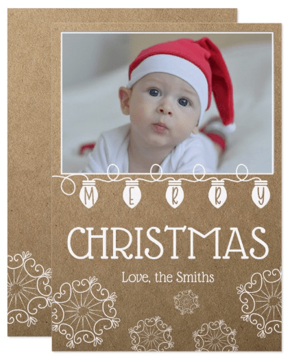 Merry Christmas Card with Rustic Snowflake Design