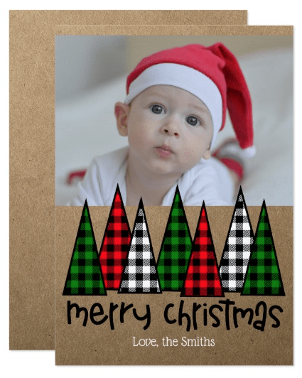 Rustic Holiday Card with Plaid Christmas Trees