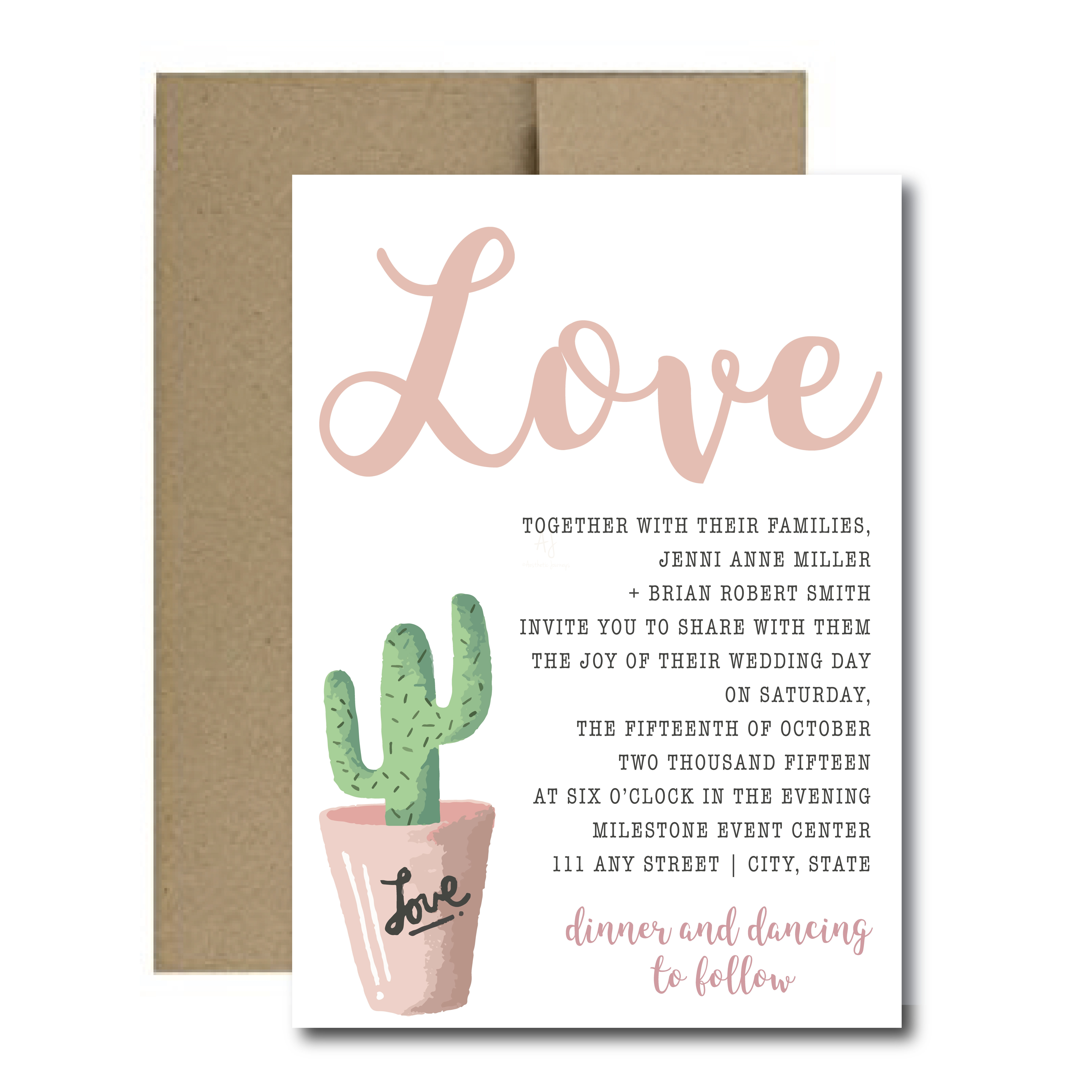 Simple Fiesta Themed Wedding Invite + Envelopes -