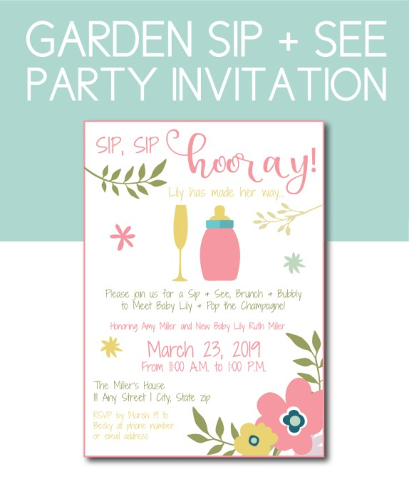 Garden Sip and See Party Invite to Welcome the New Baby