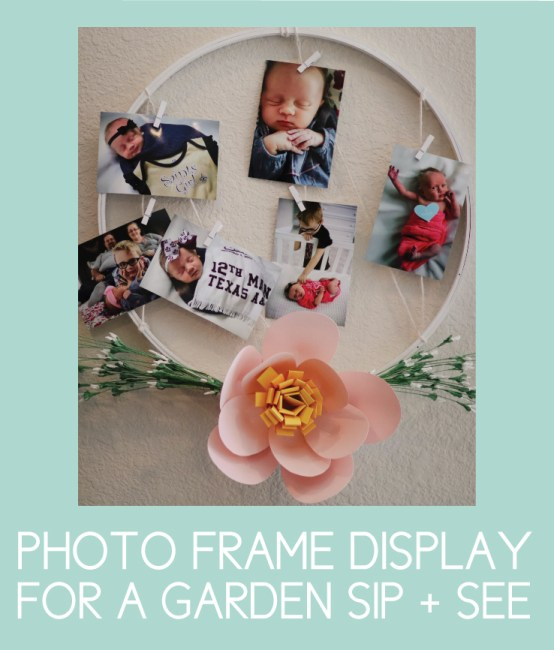 Floral Photo Display for a Garden Sip and See Party