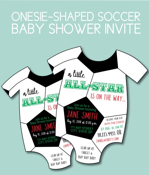 Soccer Themed Baby Shower Invite