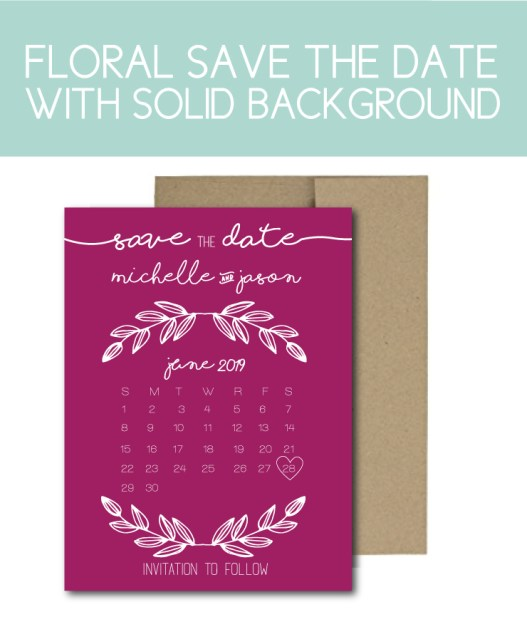 Floral Save the Date with Solid Background
