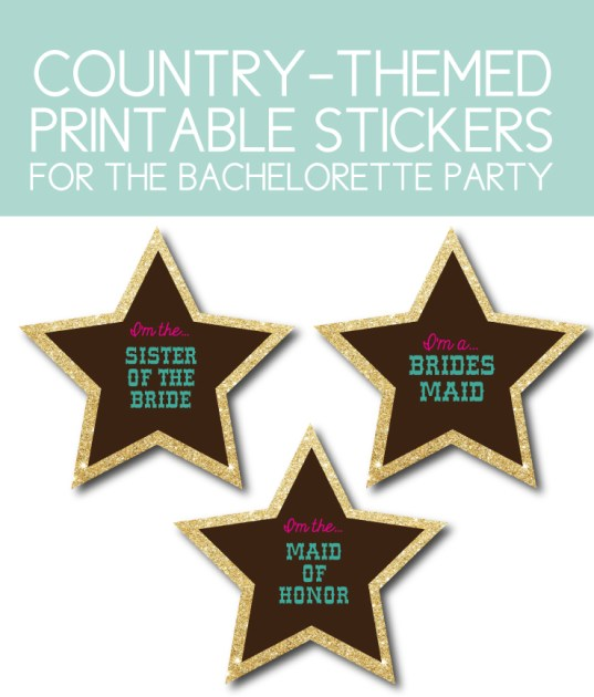 Country Themed Printable Stickers for the Bachelorette Party