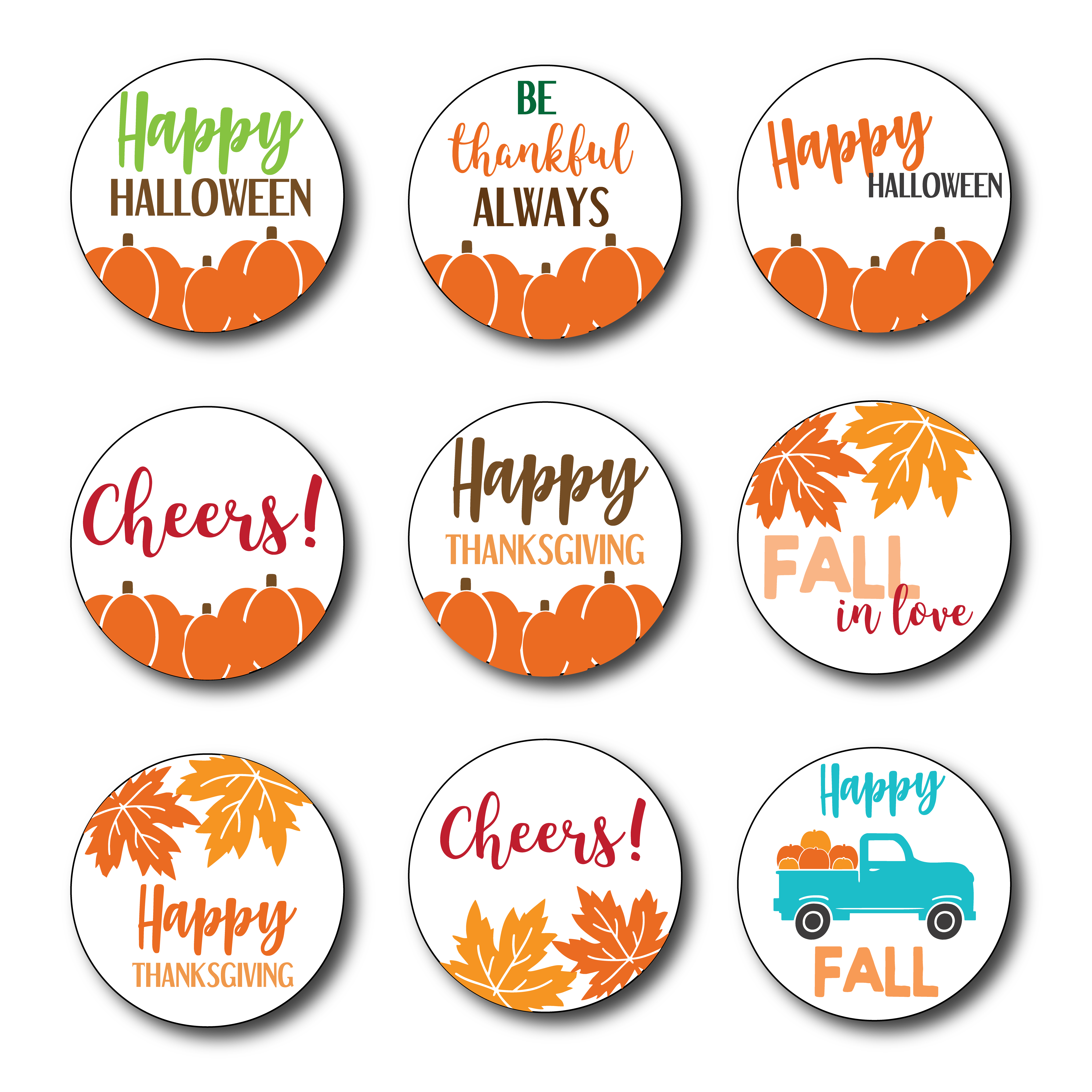 Halloween Stickers Aesthetic.Fall Themed Stickers 18 Printable Stickers Digital File