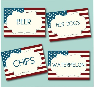 July 4th Table Cards