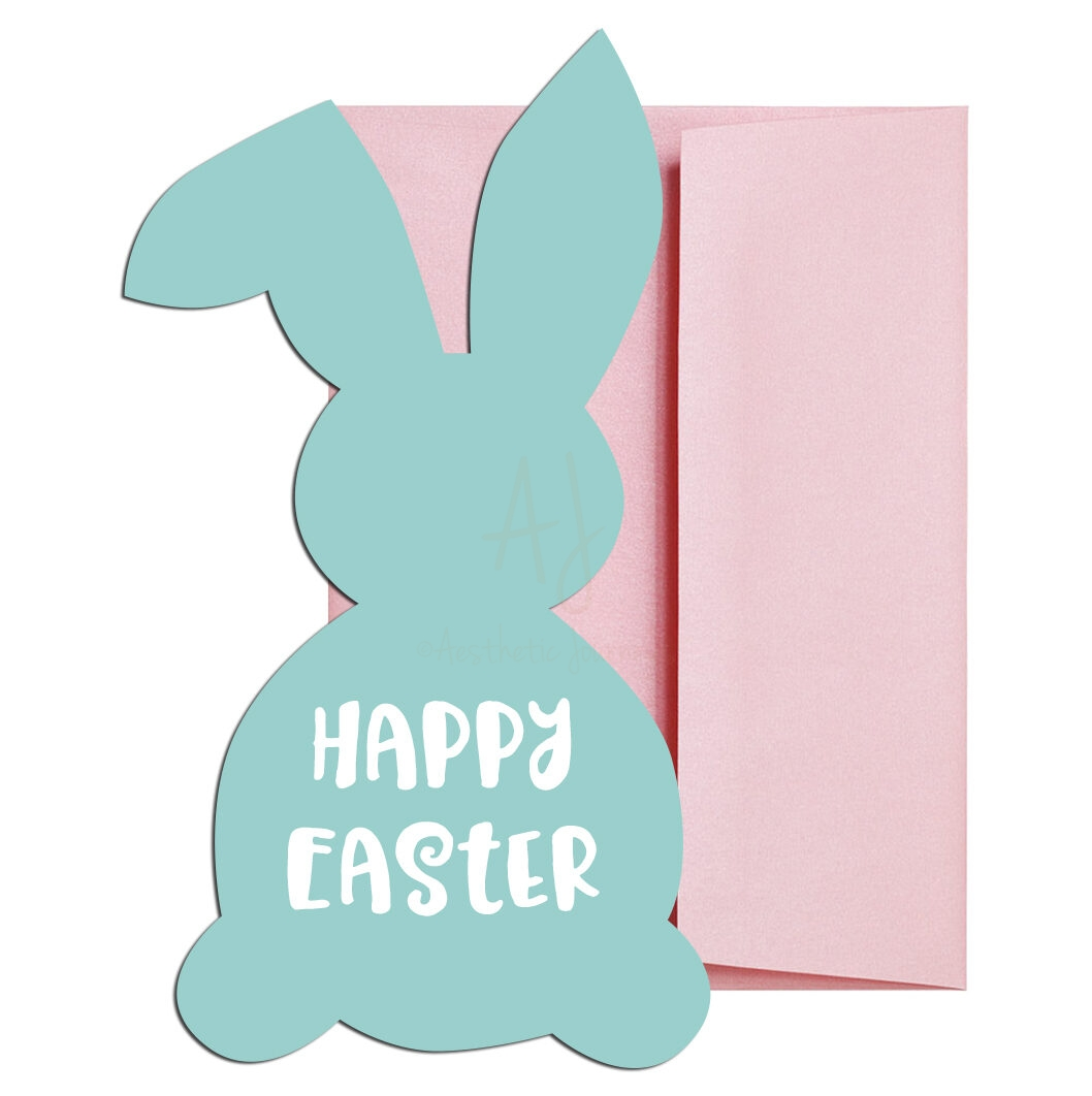 teal easter bunny cards set of 10 envelopes