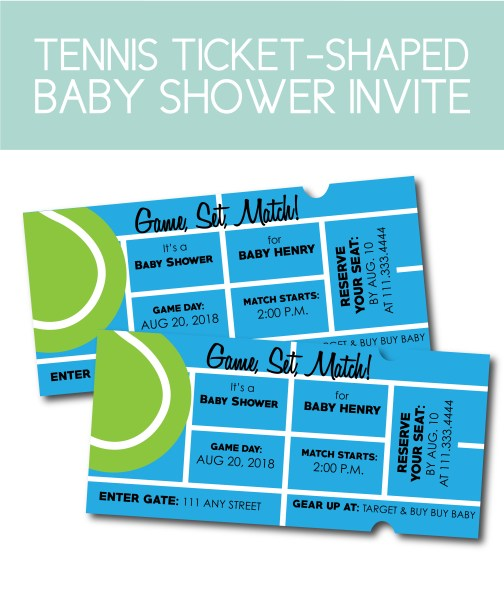 Tennis Baby Shower Invites