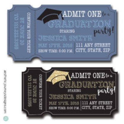 Ticket Shape Graduation Invites