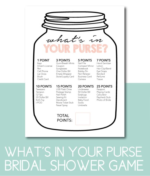 What's In Your Purse Bridal Shower Game