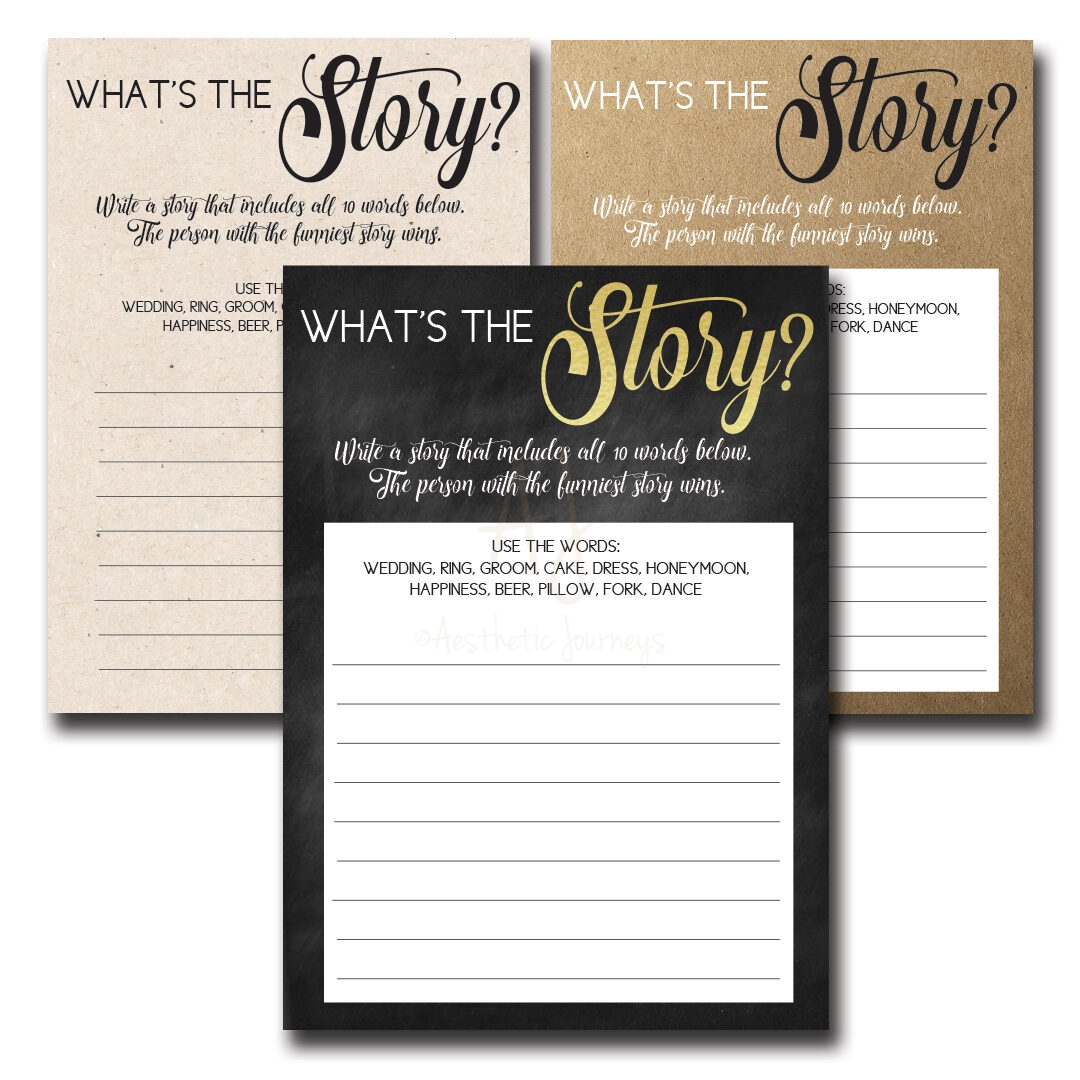 What's The Story Printable Shower Game