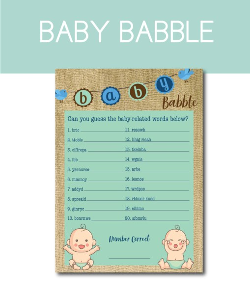 Baby Babble Word Scramble Game