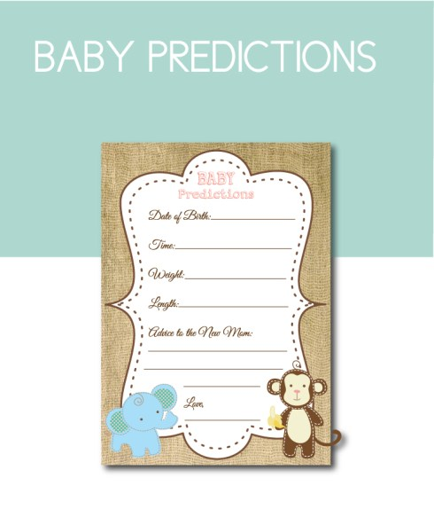 Burlap Safari Baby Prediction Game