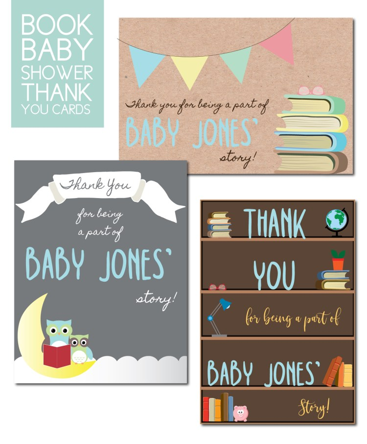 Baby shower thank you cards in book theme