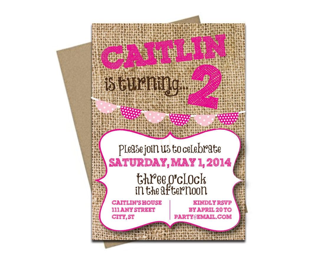 Burlap Hot Pink Party Invite + Envelopes -