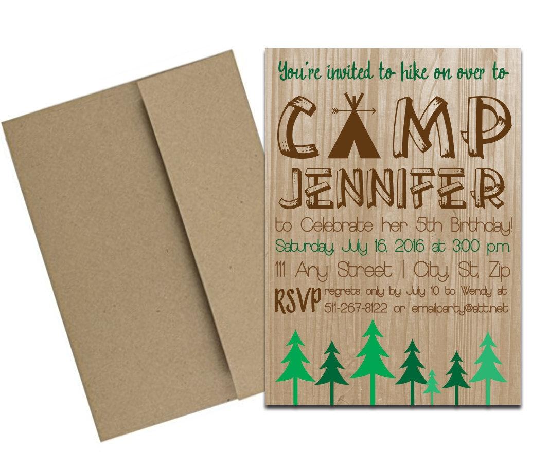 camping themed invite for birthday envelopes