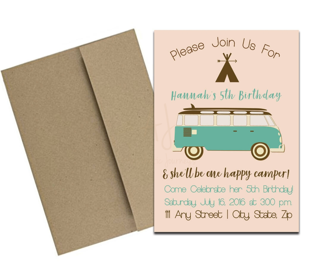 Camping Themed Party Invitation With Envelopes