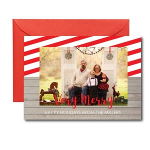 photo holiday card with candy cane stripes