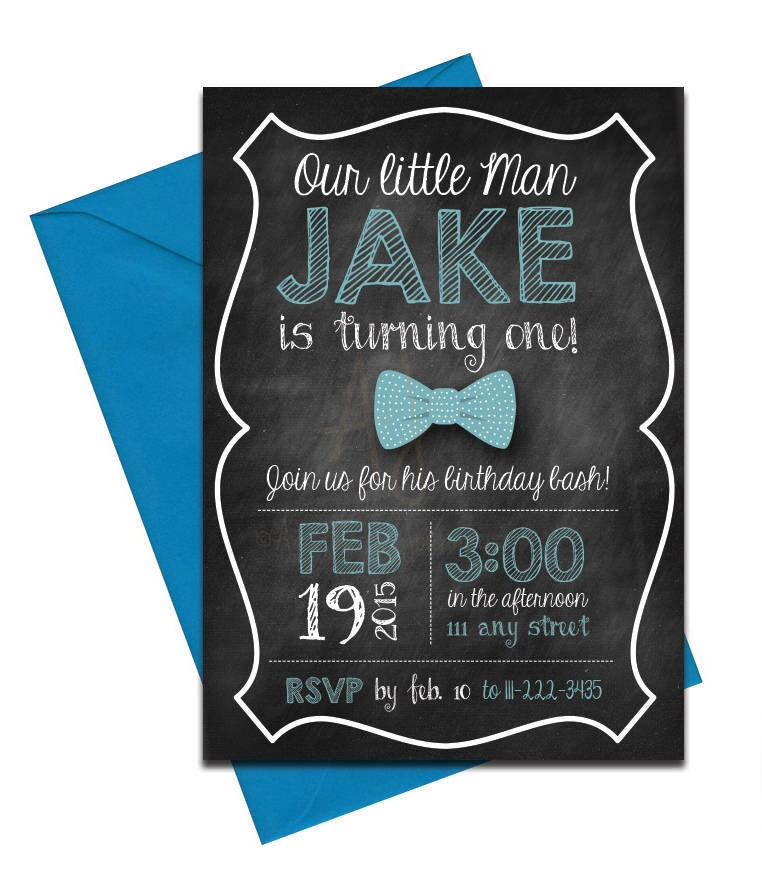 Bow tie party invite with chalkboard back envelopes chalkboard bow tie party invitation with envelopes printed birthday invites with envelopes custom filmwisefo