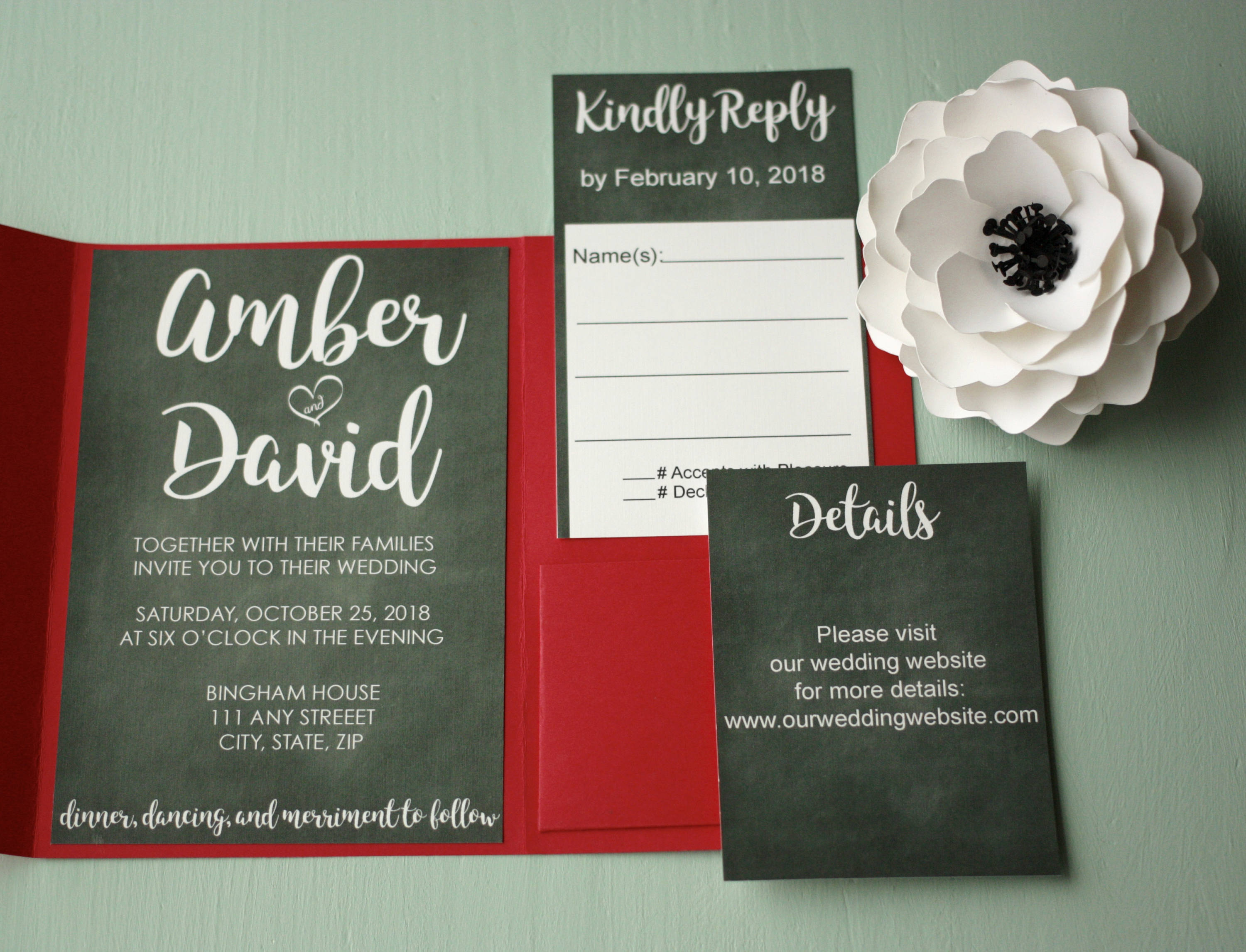 Chalkboard Wedding Invite with Cursive + Envelopes -