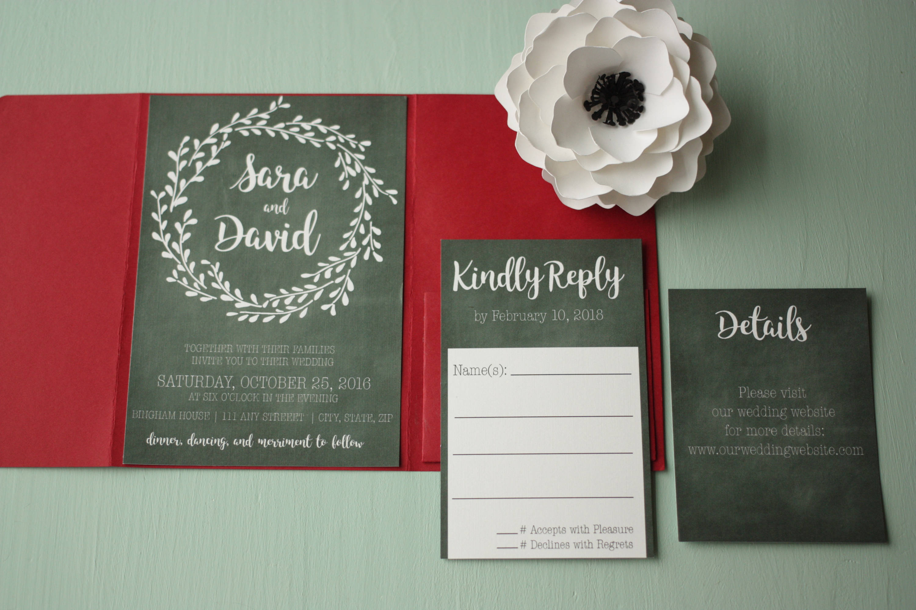 Floral Chalkboard Wedding Invite + Envelopes -