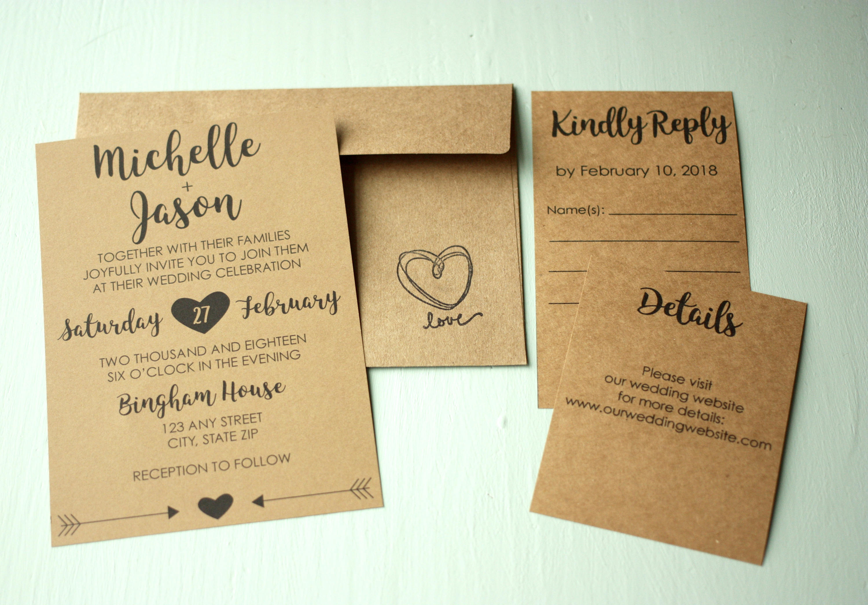 Classic Rustic Wedding Invite + Envelopes -