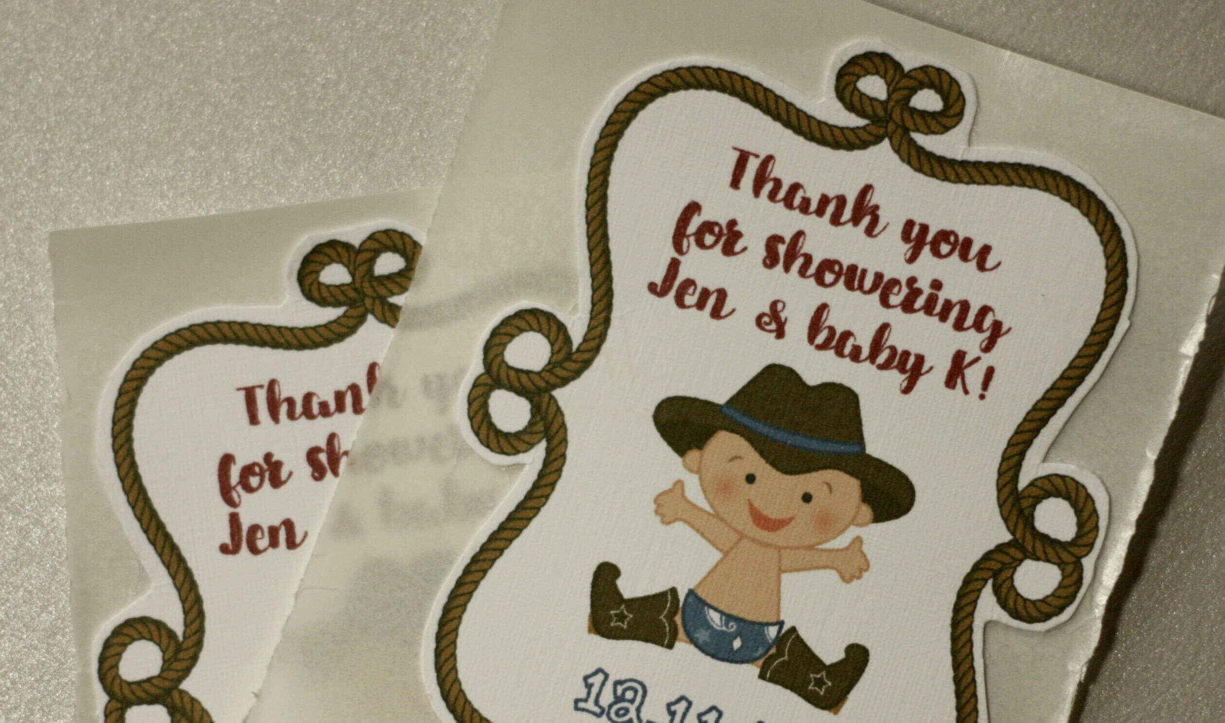 Cowboy themed thank you stickers baby shower decorations set of 10 custom stickers
