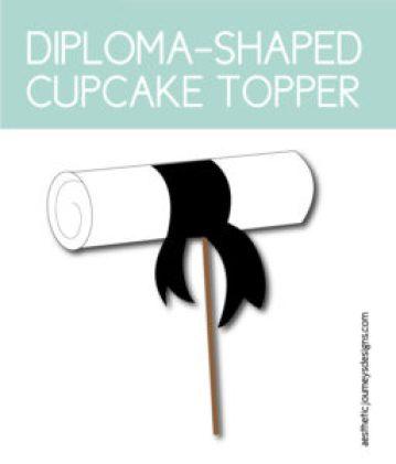 Diploma-Shaped Cupcake Topper