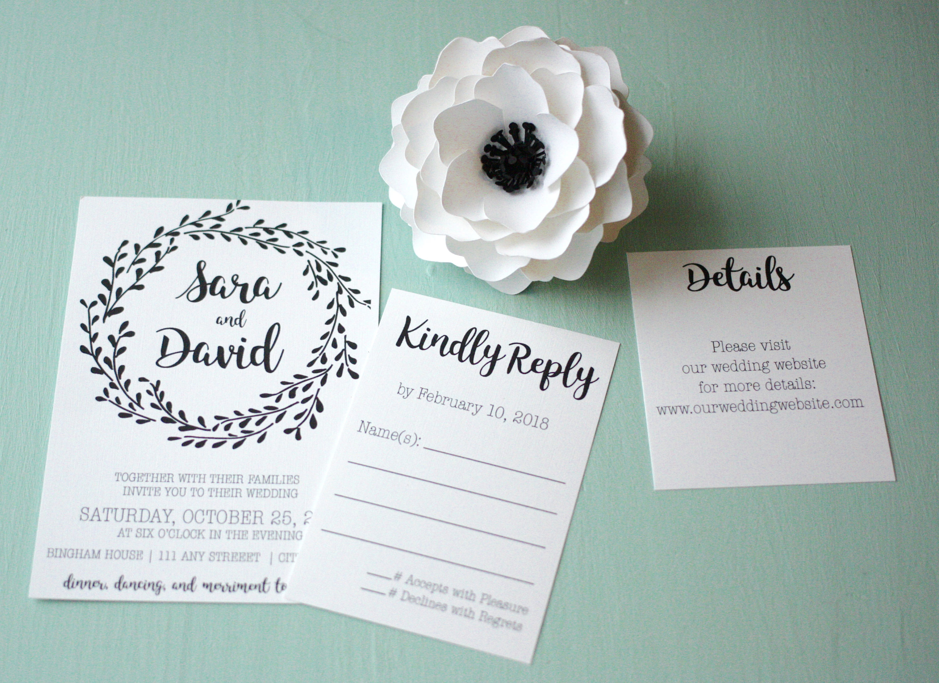 Simple Floral Wedding Invite + Envelopes -