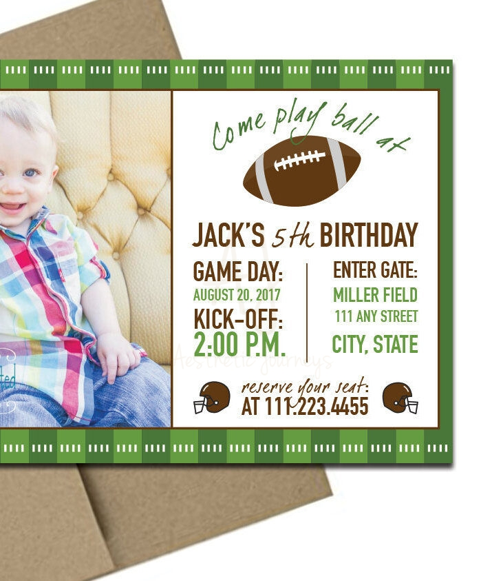 football themed invitation with envelopes printed birthday invites with envelopes custom colors available