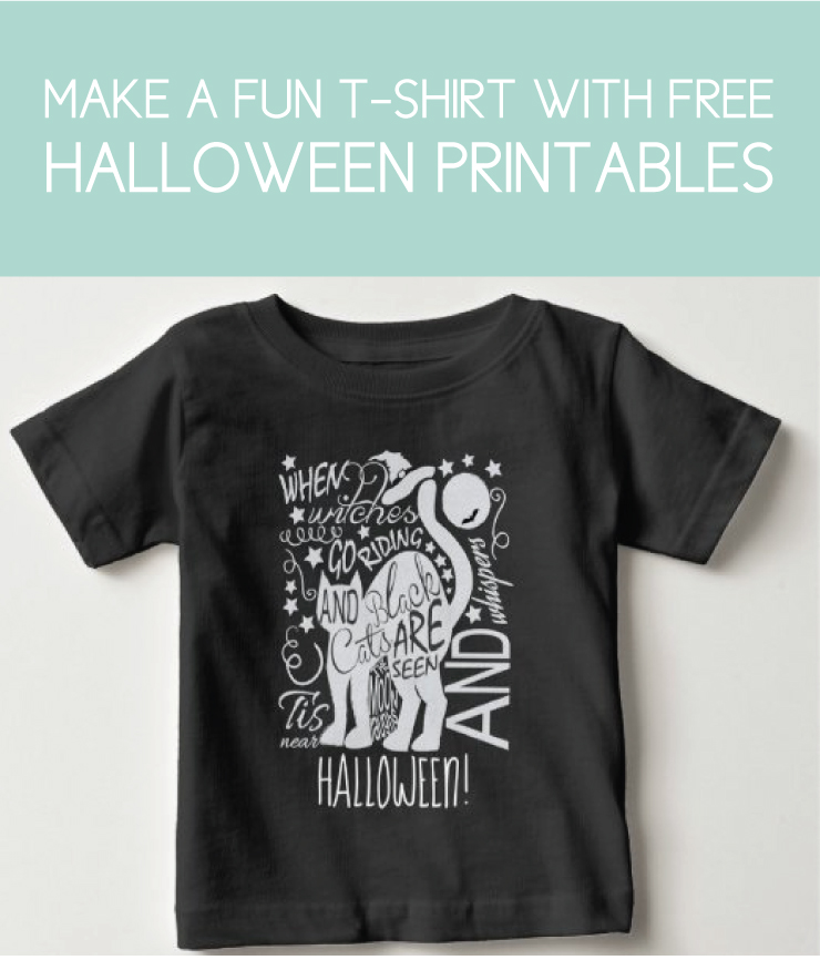 free halloween printables on a kid's shirt