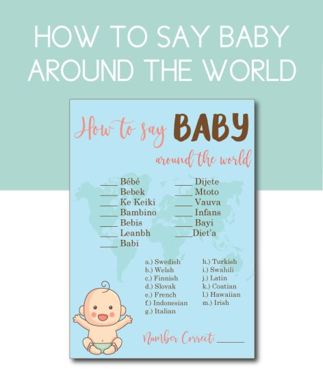Baby Shower Game: How to Say Baby Around the World