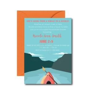 Couples Kayak Bridal Shower Invite