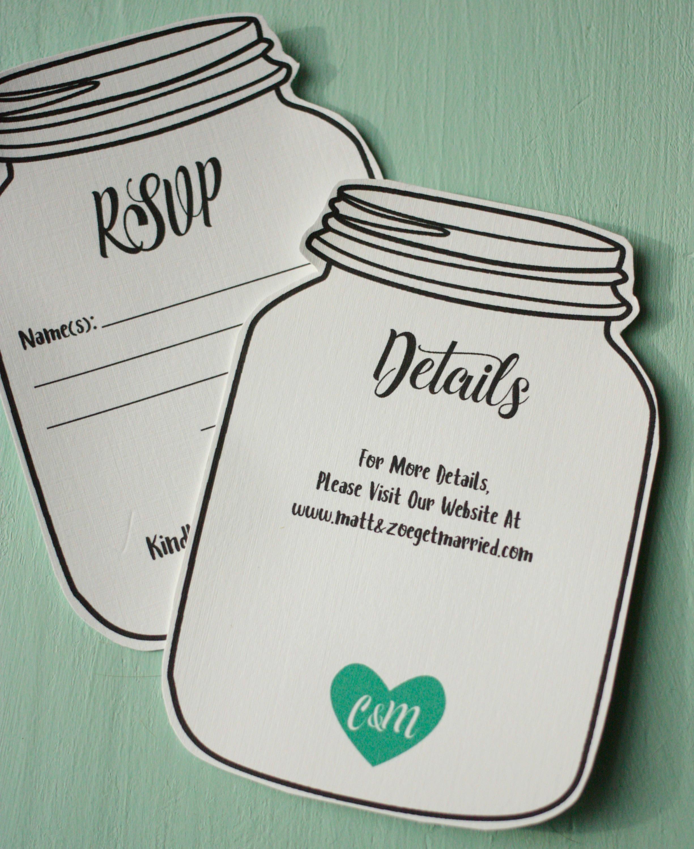 Mason Jar Shaped Wedding Invite + Envelopes -