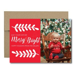 merry and bright photo christmas card on solid background