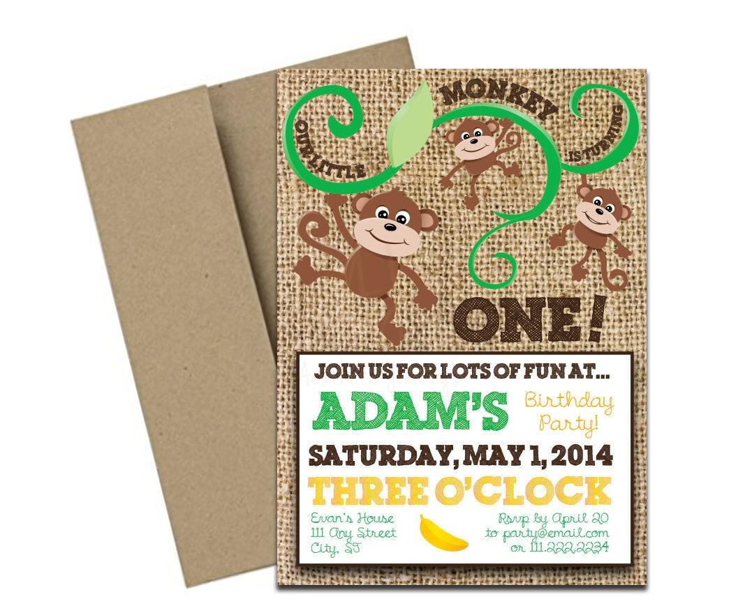 Rustic Monkey Themed Party Invite + Envelopes -