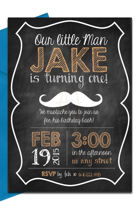 Mustache Chalkboard Invite  Envelopes