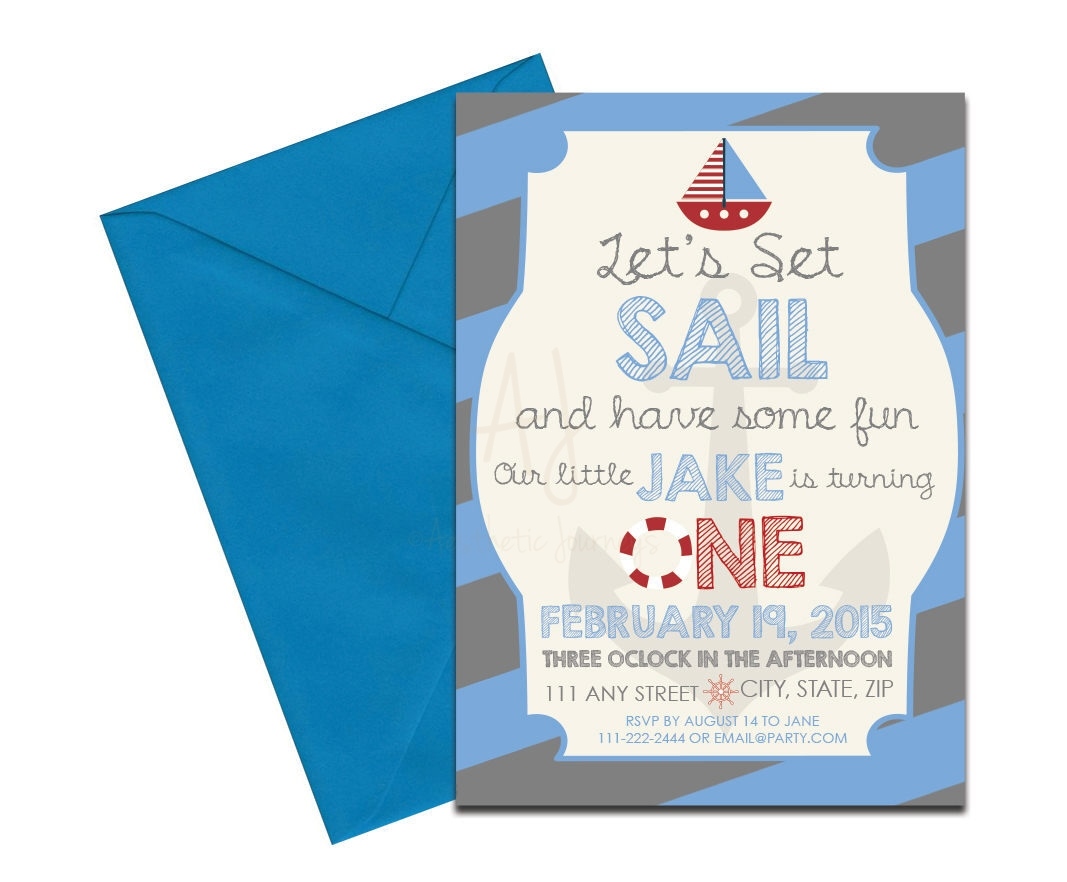 Blue Nautical Themed Invite + Envelopes -