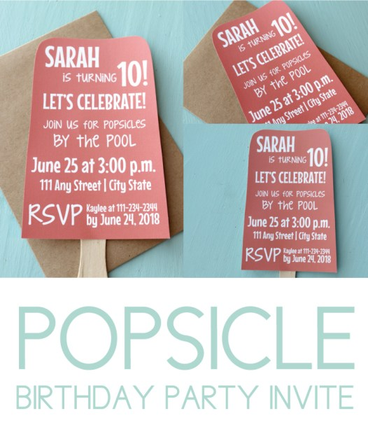 Popsicle Pool Party Invite