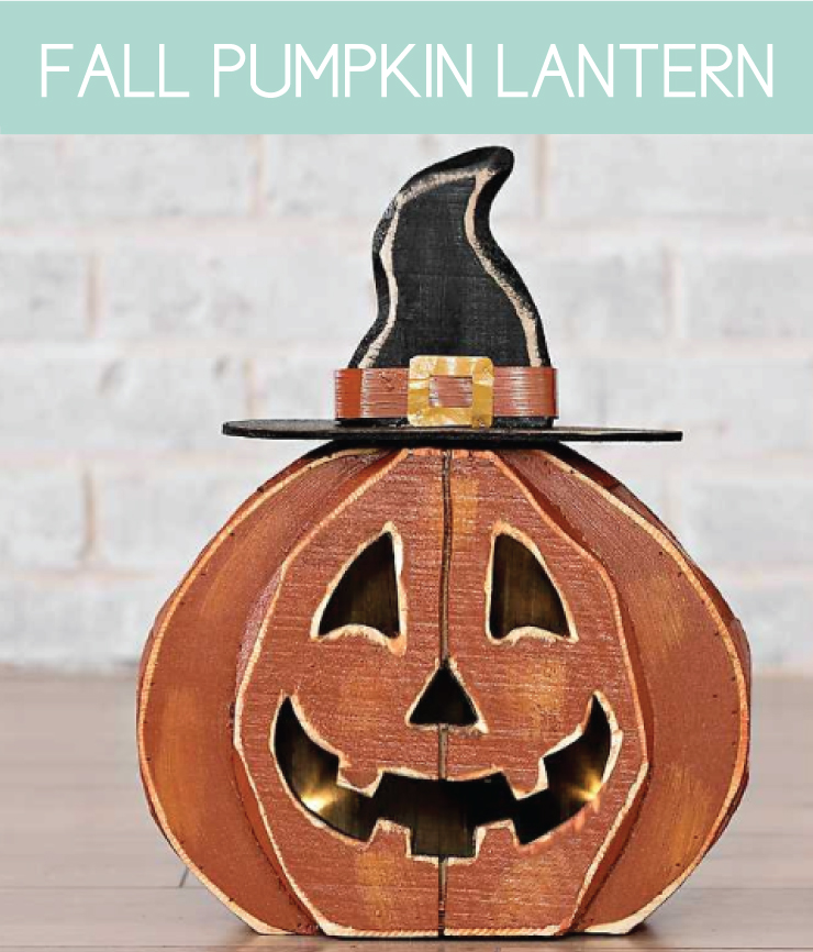 pumpkin-shaped wooden lantern