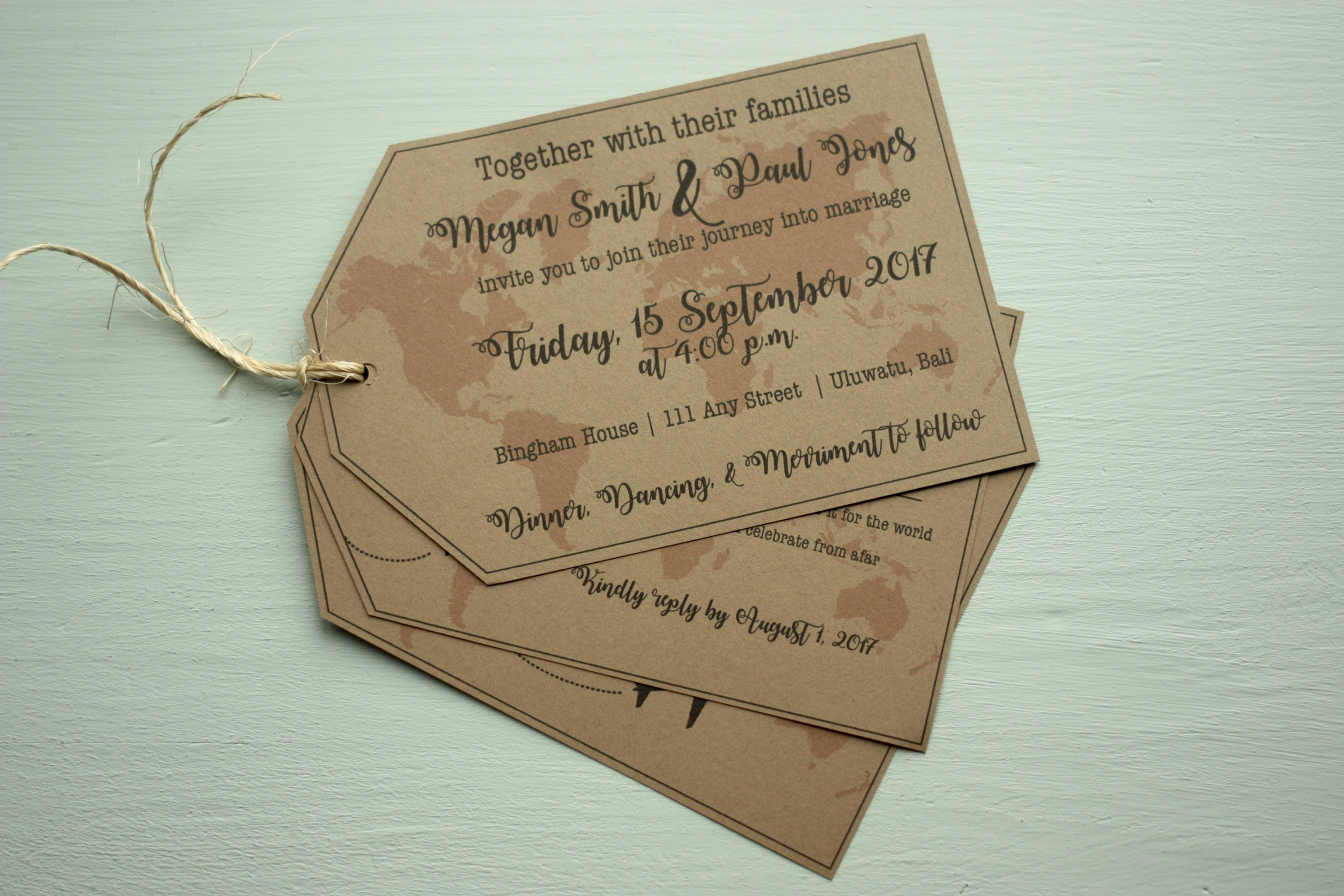 Luggage Tag Invite | Rustic with Twine + Envelopes -