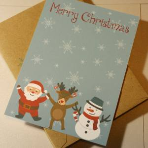 Set of 10 Printed Christmas Cards with Envelopes | Christmas Character Cards on Snowflake Background | Stamped Envelopes Included