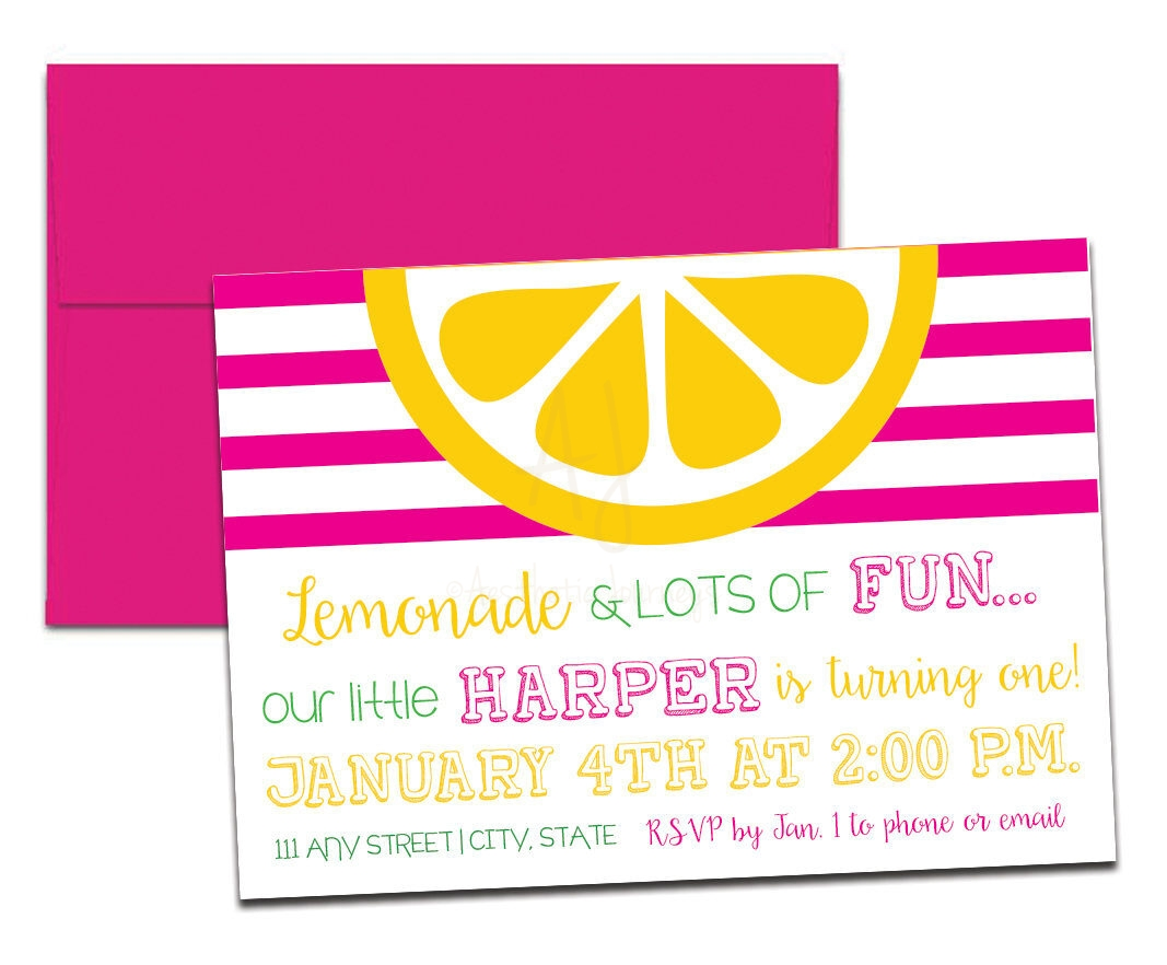 Sunshine Birthday Party Invite in Pink + Envelopes -