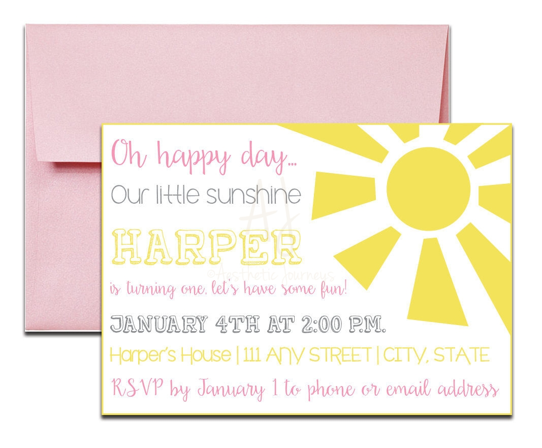 Pink sunshine invite for birthday envelopes sunshine themed party invitation with envelopes printed birthday invites and color envelopes custom colors stopboris Image collections