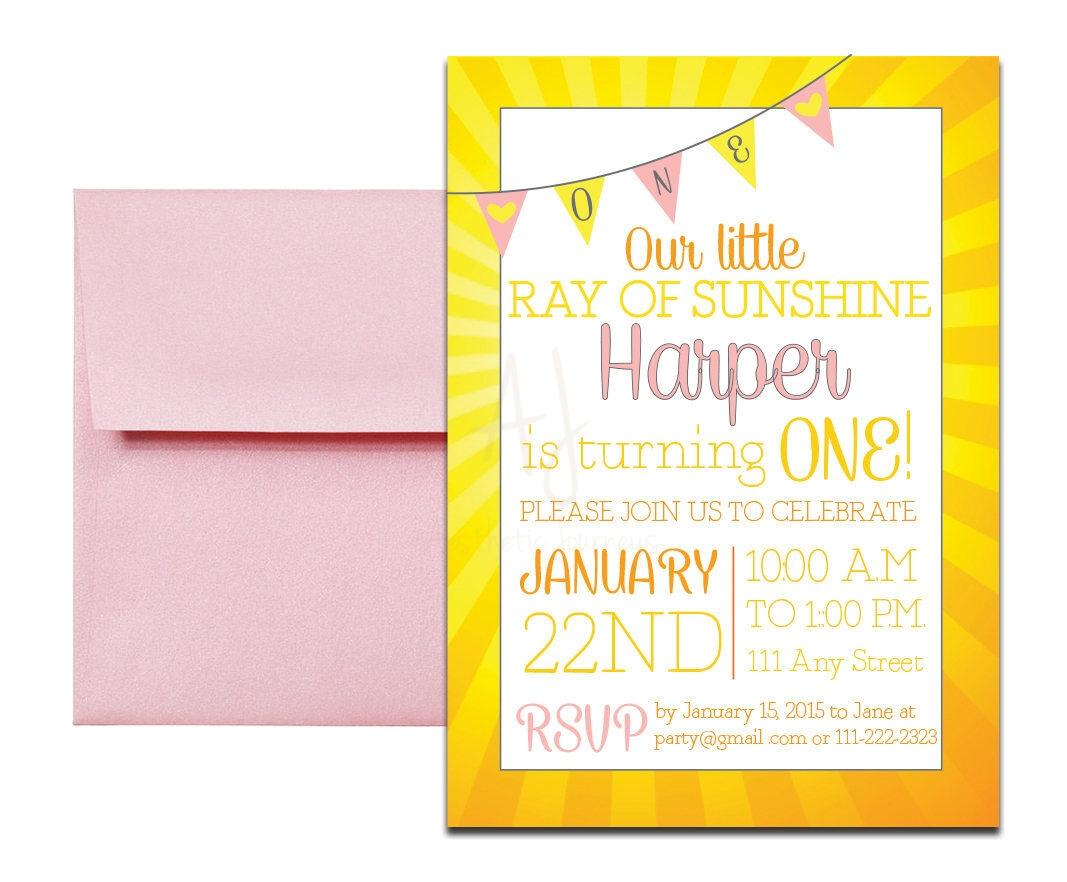 Yellow Sunshine Themed Party Invite + Envelopes -